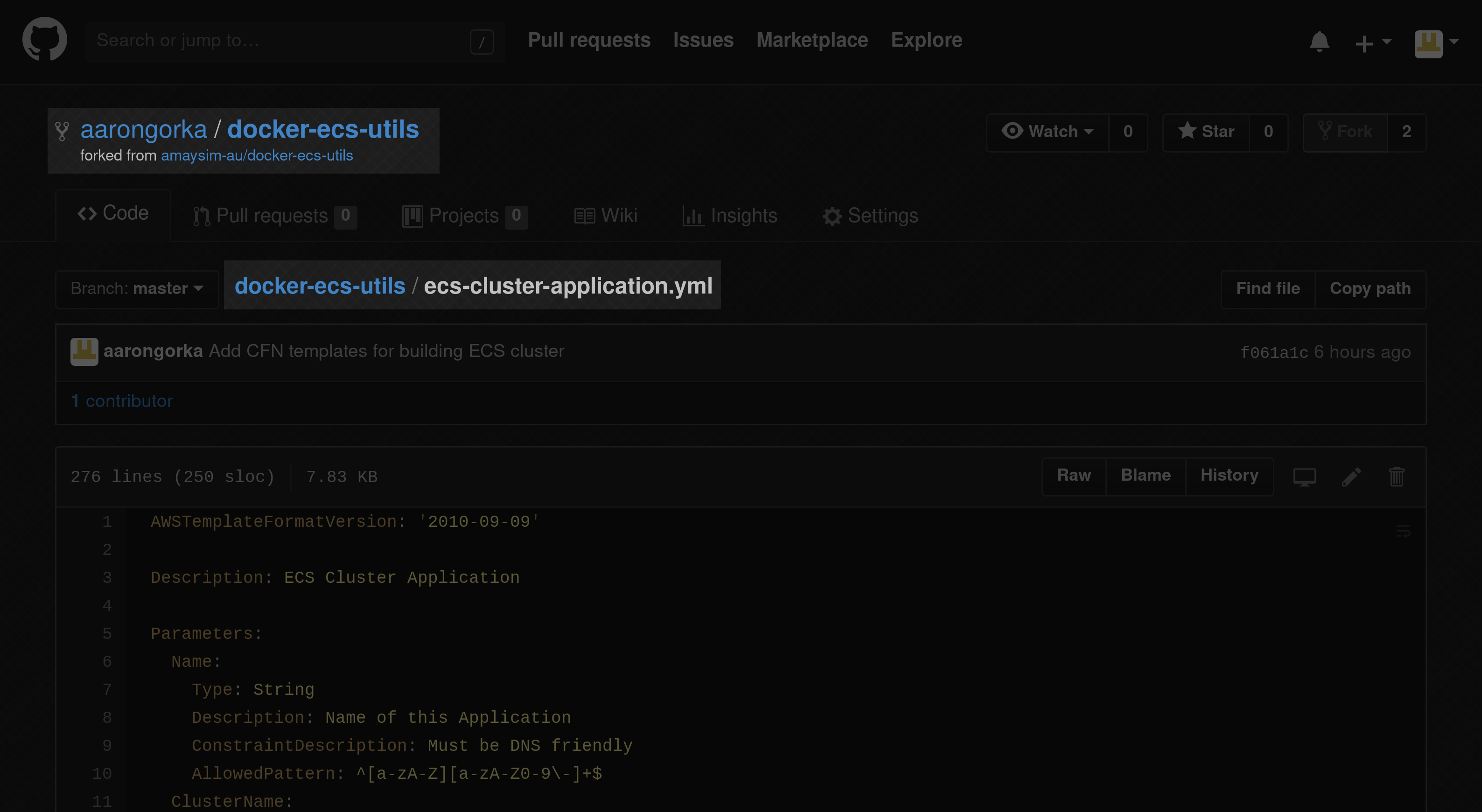 application template in Github